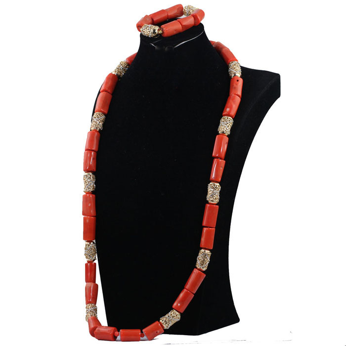 40 inches Big Real Coral Beads Bridal Necklace Set Fashion Men Coral Necklace Jewelry Set Groom African Jewelry Set CNR806