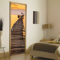 2 Sheets Pcs Sea Sunset Pier Art Mural Sticker DIY Twilight Landscape Door Picture Special Wall