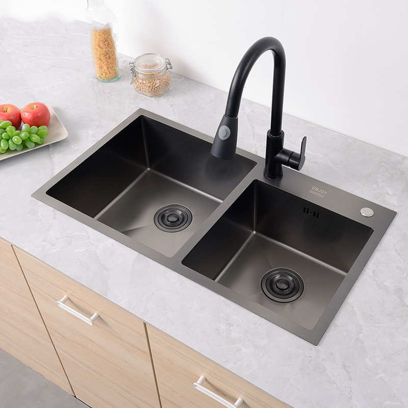 Us 239 0 304 Stainless Steel Kitchen Sink Basins With Thick Double Bowl Groove Black Basin Suit Faucet In Sinks From Home