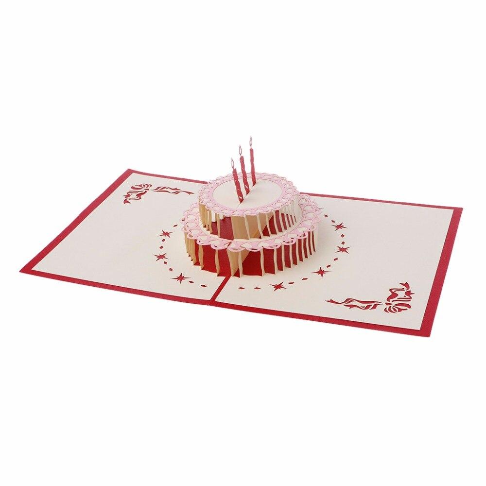 Postcard 3d Pop Up Greeting Card Handmade Happy Birthday Cake