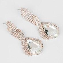 YFJEWE Fashion accessories super corp sparkling crystal big drop earrings for women long earrings wedding earrings jewelry #E001