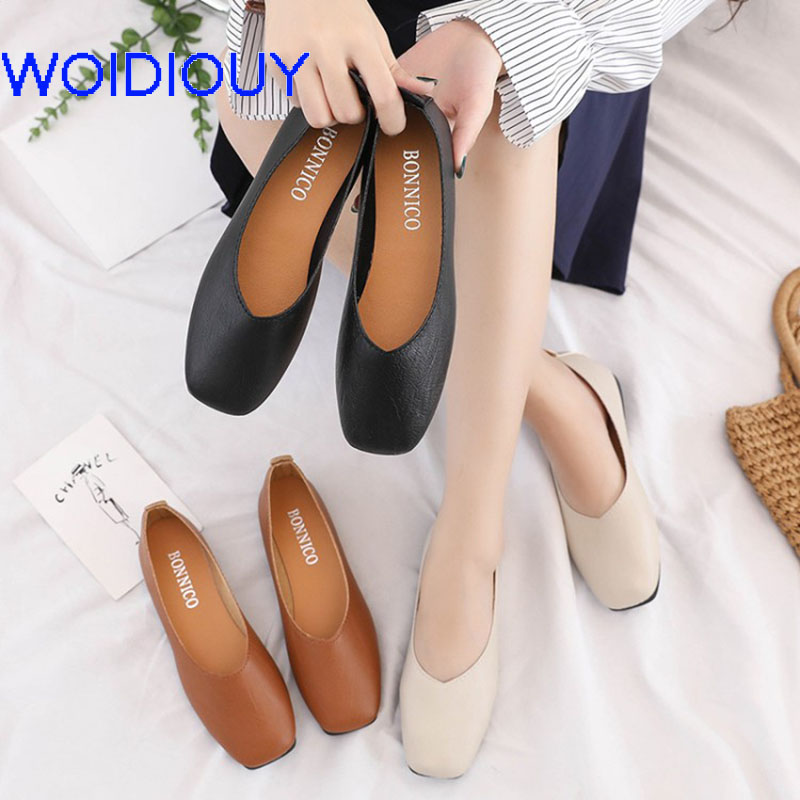 Women Ladies Slip On Flat Sandals PU Casual Shoes Solid Fashion Loafer Female Zapatos Mujer plain flat shoes single shoes sweet rhinestone and faux pearl embellished floral double layered bracelet for women