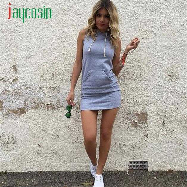 Jaycosin Women's Casual Gray Solid Hooded Mini Dresses Sleeveless Solid Ladies Hot Sales Fashion Vestidos De Festa For Summer
