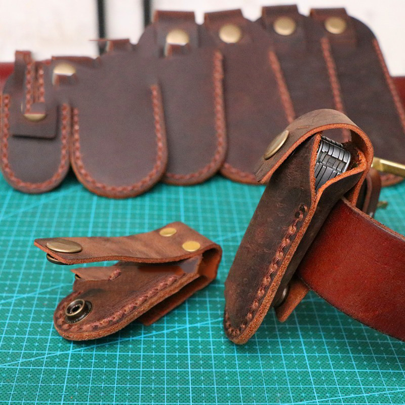 7 Designs First Layer Crazy Horse Cowhide Leather Folding Knife Tool Pliers Quick Button Case Sheath Waistband Belt Buckle