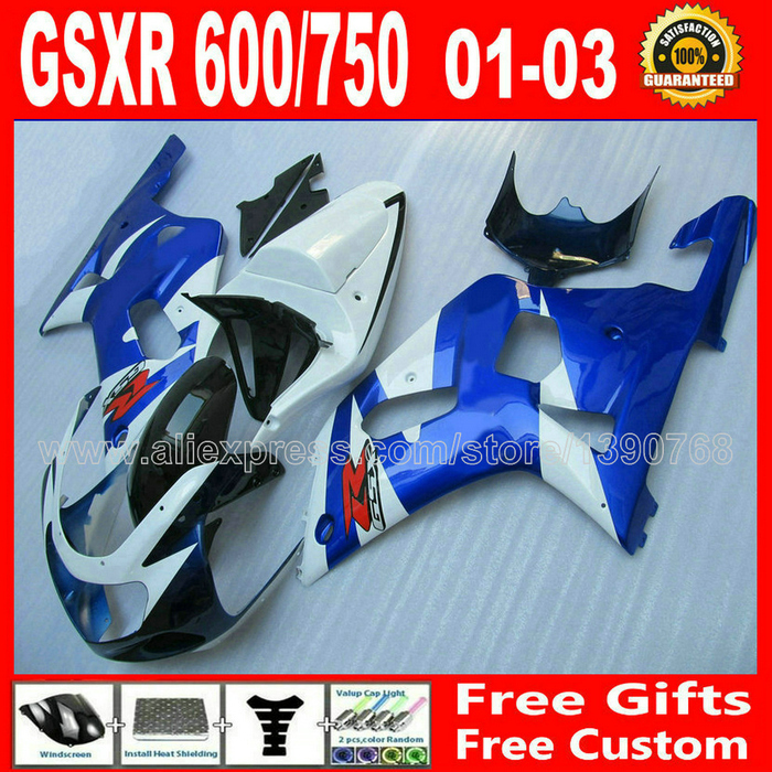 7 gift fairing kit for bodywork 2001 2002 2003 SUZUKI GSXR 600 750 K1 #RBK GSX R600 R750 01- 03 white blue black for suzuki gsx r600 750 gsxr 1000 gsxr1300 99 07 1 pair front brake disc motor hayabusa tl1000s 2000 2001 2002 2003 gold