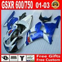 7 gift fairing kit for bodywork 2001 2002 2003 SUZUKI GSXR 600 750 K1 #RBK GSX R600 R750 01 03 white blue black