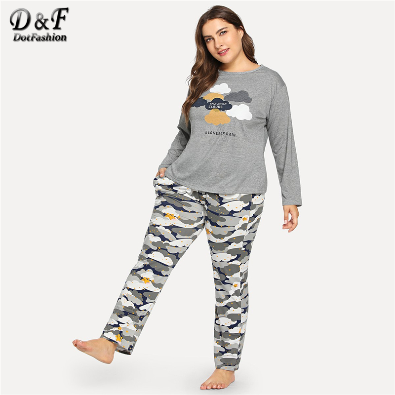 Dotfashion Plus Size Grey Cloud And Star Print   Pajama     Set   Autumn Casual   Pajamas   For Women Sleepwear Female Long Sleeve Nightwear