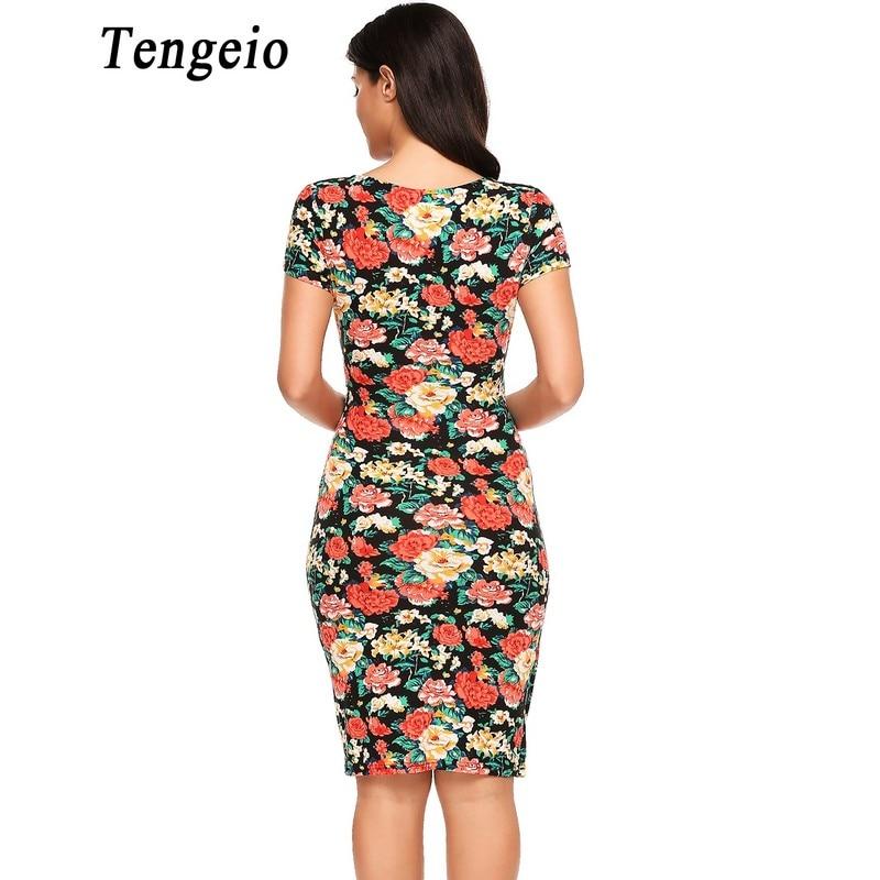 a6b13c99e00d5 Tengeio Women Sexy Summer Vintage Bandage Dress V Neck Short Sleeve Floral  Print Elastic Package Hip Flower Wrap Dress 50-in Dresses from Women's ...