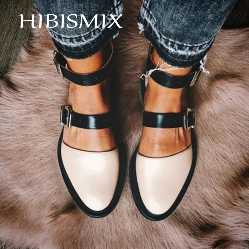 HIBISMIX 2019 New Fashion Women Ankle Buckle Strap Flats Plus Size Mixed Colors Round Toe Flat Shoes For Woman 1337