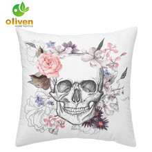 Pink Rose Sugar Skull Cushion Cover White Black Living Room Decorative Pillow Case Halloween Throw Pillows Sofa Seat D15