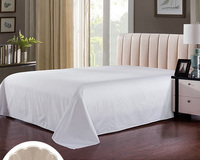 luxury white color Egyptian cotton bed flat sheet twin size 170*220CM for bedroom hotel school hospital 600TC Children's Adult