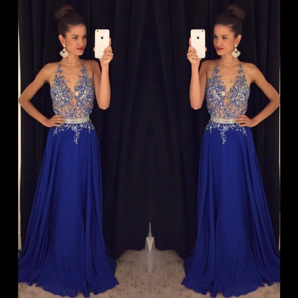 vestido de festa longo Sparkly Beaded Royal Blue Long   Prom     Dresses   2018 Sexy Backless A Line Long Party Evening   Dress