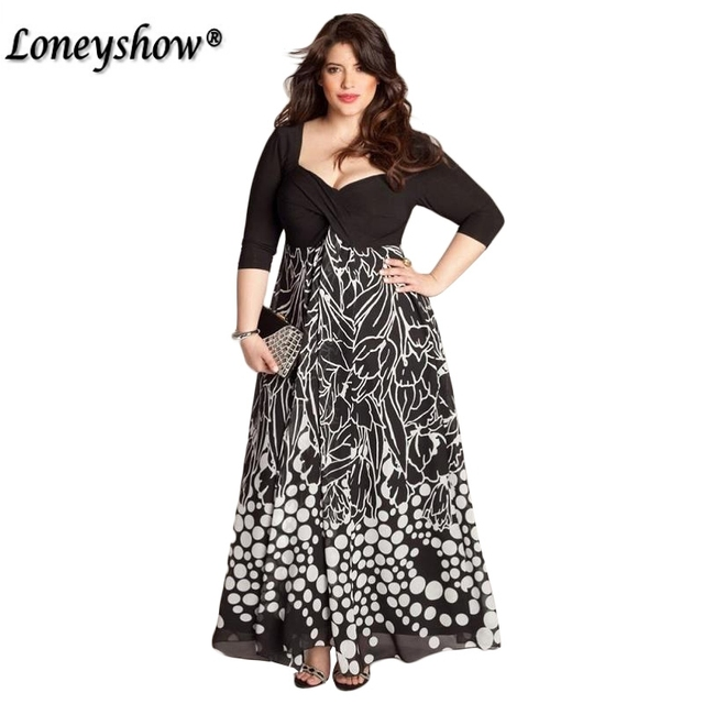 b7102180 XXL 4XL 5XL Plus Size Print V Neck Black A line EmpireMaxi Dress Women  Peplum Gown
