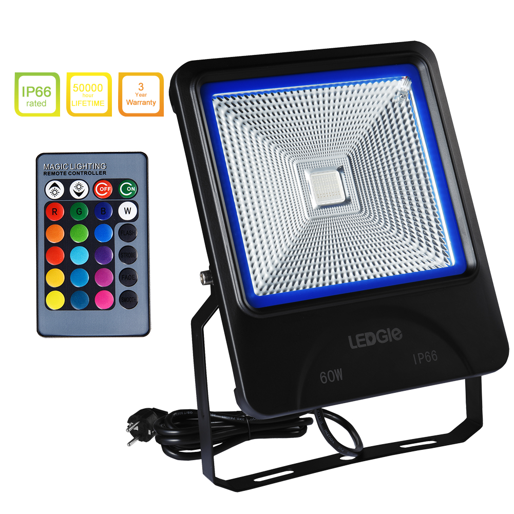 LEDGLE 60W LED Flood Lights RGB Floodlights Waterproof Outdoor Light with Remote Control COB LED Chip 16 Colors 4 Lighting Modes
