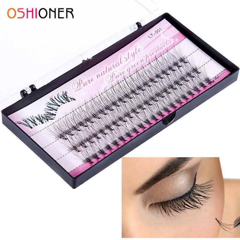 OSHIONER Natural Fake Eye Lashes 60pcs 8/10/12/14mm Makeup Individual Cluster Eye Lashes Grafting Fake False Eyelashes