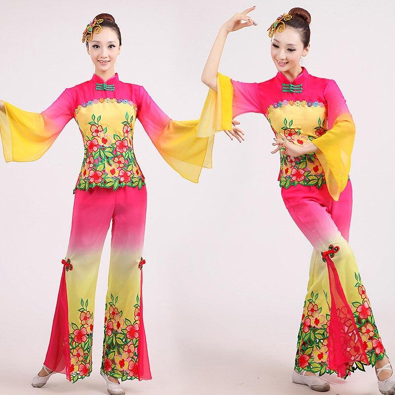 Новый 2 цвета национальный танец одежда театральные костюмы танцевальная одежда Yangko вентилятор танец Классический танец сценическая одежд