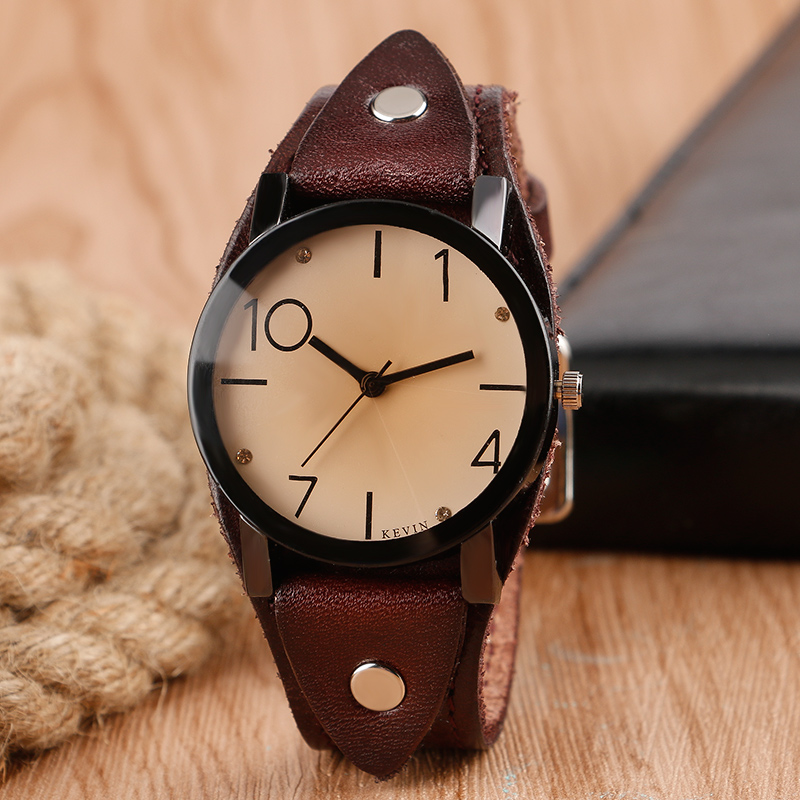 KEVIN New Sport Punk Watch Retro Vintage Brown Leather Band Strap Classic Women Men Special Design