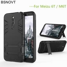 BSNOVT Meizu M6T Case Cover Soft Silicone + Plastic Kickstand For M811Q Mobile Phone Holder Bumper 5.7