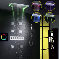 Thermostatic Shower Faucet Set Modern Luxury European Style Large Touch Panel LED Shower Head Waterfall Rainfall Bathroom Shower