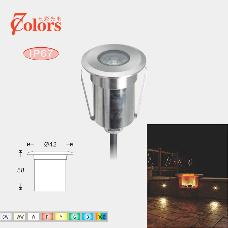 1 5 3w High Power 12v Low Voltage Led In Floor Light Decking Lighting 42mm Diameter With Round Shape Recess Into Mounted