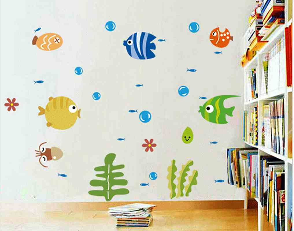 Us 1 18 New Arrival Bubble Fish Wall Stickers Decorative Painting Wall Mural Diy Boys Kids Bedroom Glass Windows Bathroonm Decor Sticker In Wall