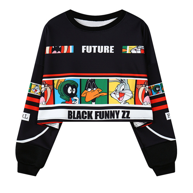 ce98cb5fd04dca Harajuku Korean Girl Hoodies Crop Top American Cartoon Women Long Sleeve  Casual Stylish Short Pullovers Tops Sweatshirt -in Hoodies   Sweatshirts  from ...