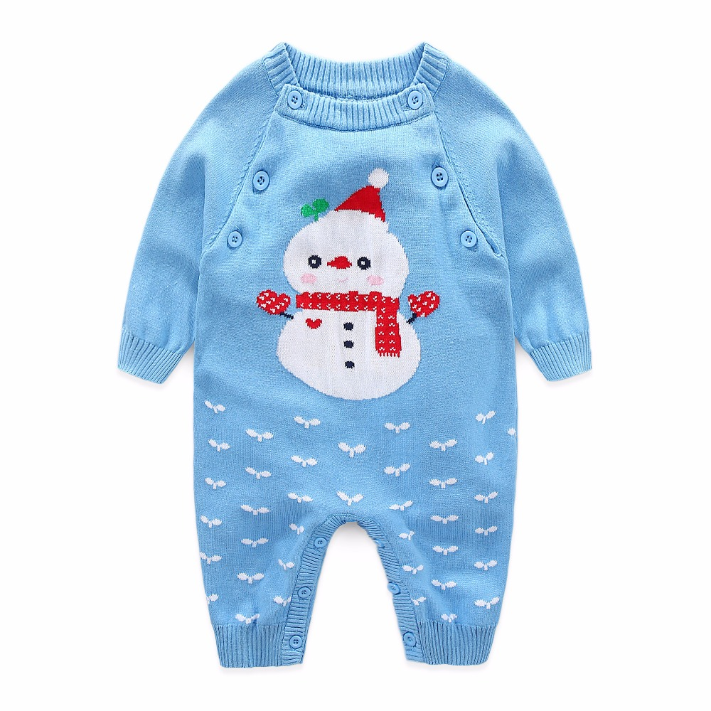 I.K winter baby clothes infant rompers knitted cotton jumpsuit newborn soft pajamas blue snowman long-sleeves Christmas cloth i k new spring autumn baby clothes infant rompers thick warm cotton jumpsuit soft pajamas flower pattern long sleeves py25040