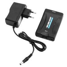 Новый HDMI к SCART композитного видео конвертер 1080 P + 5 В 1A DC ЕС подключить Питание адаптер для crt ТВ VHS видеомагнитофон dvd-рекордеры