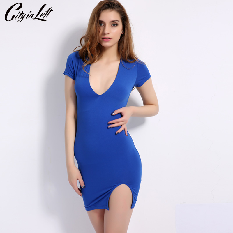 City 2018 Summer Sexy Deep V-Neck Slim Hem Split Mini Party Dress Short Sleeve Sheath P Blue Women Dresses CIL-1140