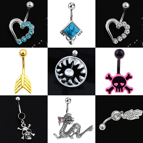 HTB1IuUINFXXXXXJXpXXq6xXFXXX3 Stylish Rhinestone Body Piercing Belly Button Bar Ring Jewelry - 10 Styles