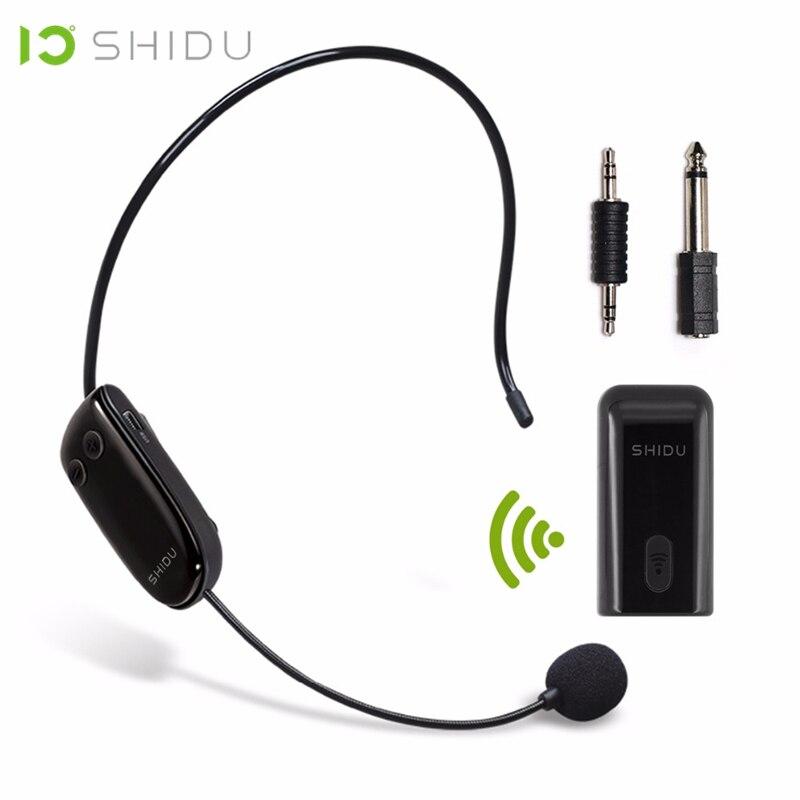 SHIDU UHF Sans Fil Tête Casque Microphone 2 Dans 1 De Poche Portable MIC Voix Changeur Amplificateur Pour Discours 3.5mm Plug récepteur