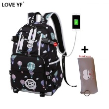 New Black anime Emoticon backpack USB Charging shockproof laptop backpack Student cute pattern school bag oxford school backpack