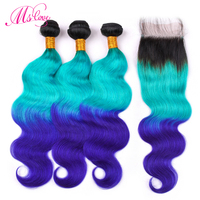 Ms Love Pre Colored Hair Body Wave Bundles With Lace Closure TB Green Blue Ombre Color Remy Brazilian Human Hair Weave