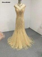CloverBridal bling prachtige luxe stenen pailletten kristallen kralen gold mermaid geïmporteerd feestjurk kant + tulle illusion terug