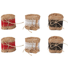 Burlap Ribbon Rolls - 6-Roll Natural Jute Fabric Craft Ribbons with Red, Black, White Lace Trims, 2.18 Yards Long, 2 Inches Wide цены