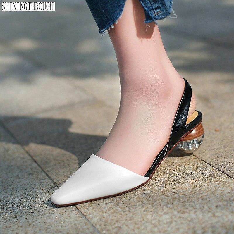Rouned Ville Talons Femmes Chaussures Parti blanc Leatherwomen Dames Véritable Poined Femme De Orteil Noir jaune Sandales Bureau E5zTTxq