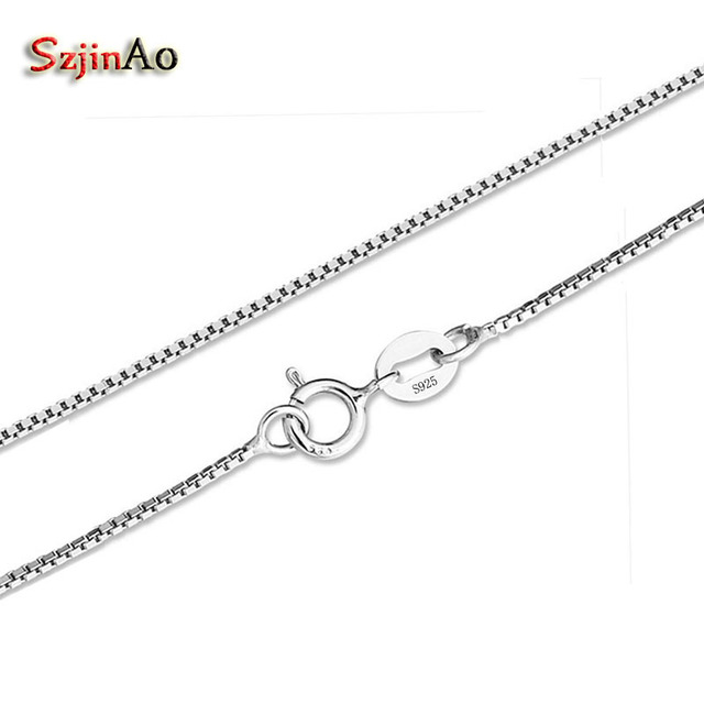 Szjinao Real 925 Sterling Silver 4045cm Slim Box Chain Necklace