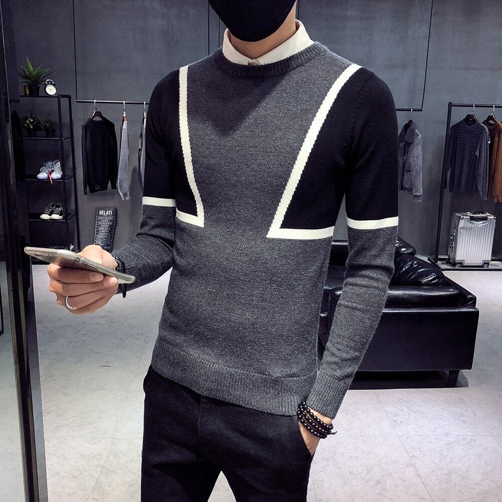 2018 nuovo maglione maschio versione coreana del trend di auto-coltivazione girocollo inverno sociale spirito di guy di rete maglione rosso