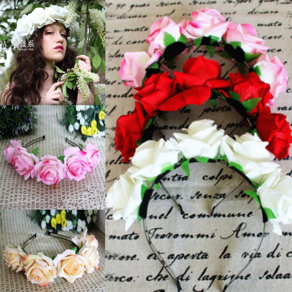 Rózsa virágos virág garland korona fejpánt haj zenekar menyasszonyi fesztivál Holiday fejfedők