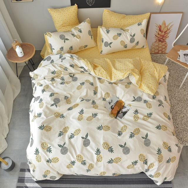 100% Cotton Yellow Duvet Cover With Pineapple Pattern Printed Bed Sheets  Soft Pillowcase Bedding Set