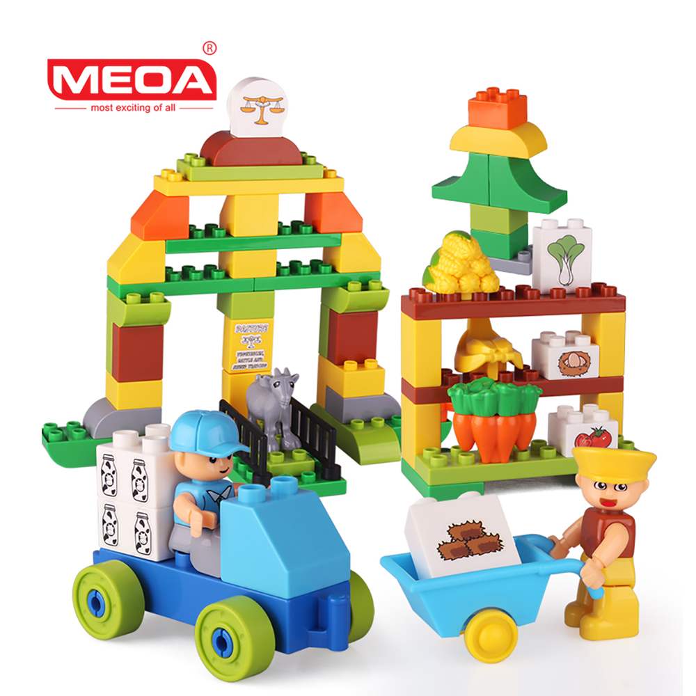 Large Particles Building Blocks Happy Farm Animals Vegetables Figures Blocks Large Size DIY Brick Toy Compatible With Duplo hm136 57pcs large particle building