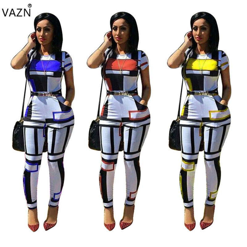 VAZN 2018 summer hot 3-colors print skinny jumpsuits women short sleeve o-neck long jumpsuits ladies hollow out jumpsuits K9217