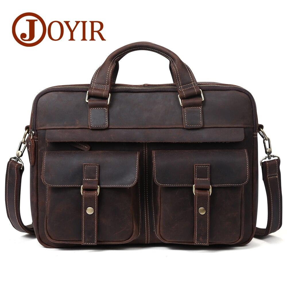 купить JOYIR Crazy Horse Genuine Leather Men Briefcase Messenger Laptop Bag Business Travel Casual Shoulder Crossbody Bag Handbags 6360 по цене 5303.13 рублей