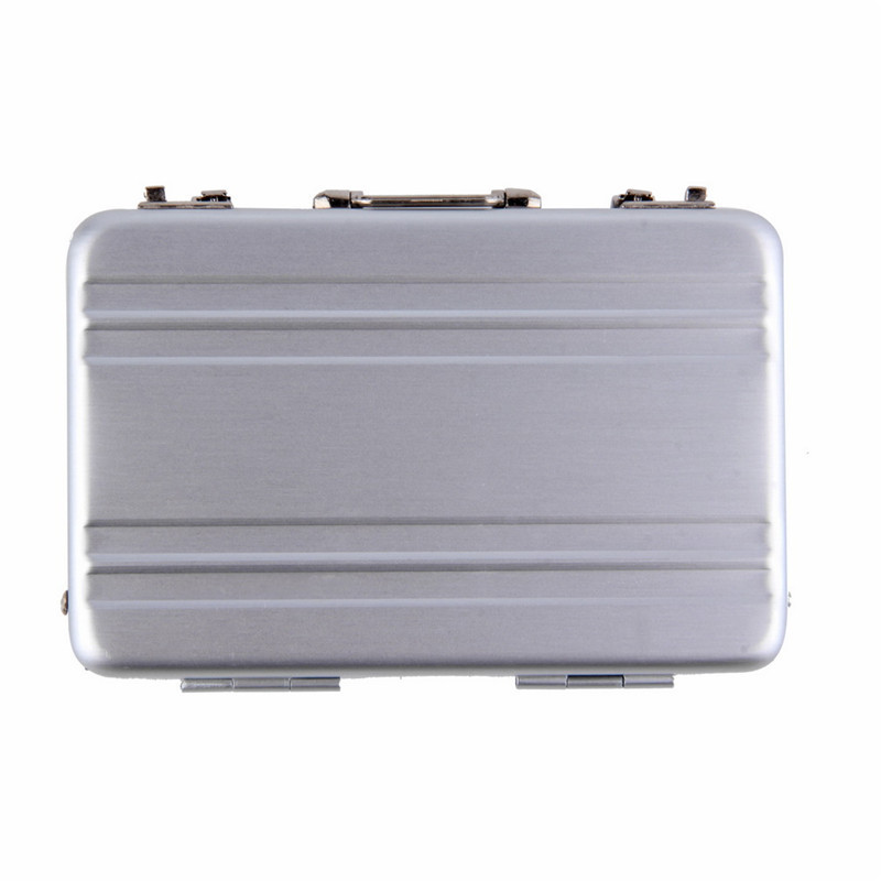 1pc Mini Briefcase Business Card Case ID Holders Password Silver ...