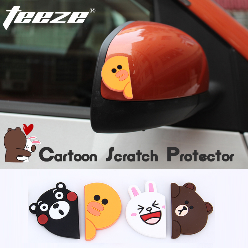 1 set Car styling Fashion Car door protector molding PVC flexible scratch protector Decoration Cartoon stickers for car