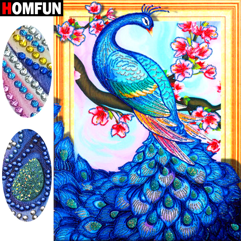 HOMFUN 5D Special shape Diamond Painting Peacock Diy gift Animal Embroidery Set Handicraft Decor Gift 40x50cm