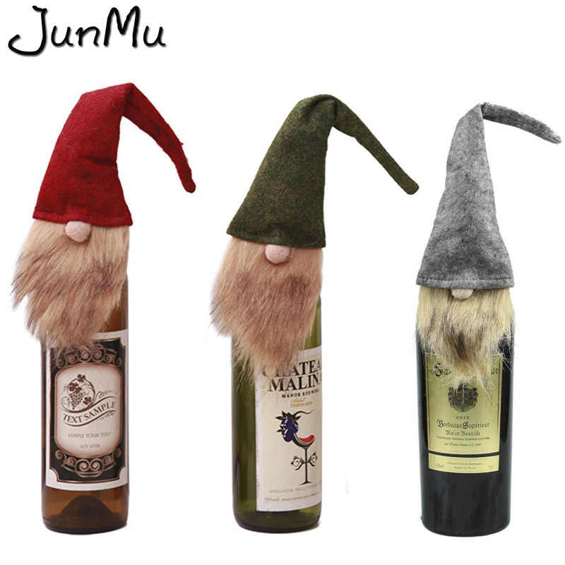 3pcs Christmas Gnome Christmas Wine Bottle Cover New Year's Products Home Decoration Accessories 9cm x 33cm