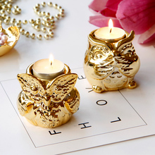 PINNY Gold Plated Ceramic Owl Candle Holders Nordic Animal Holder Home Decoration Accessories European Crafts