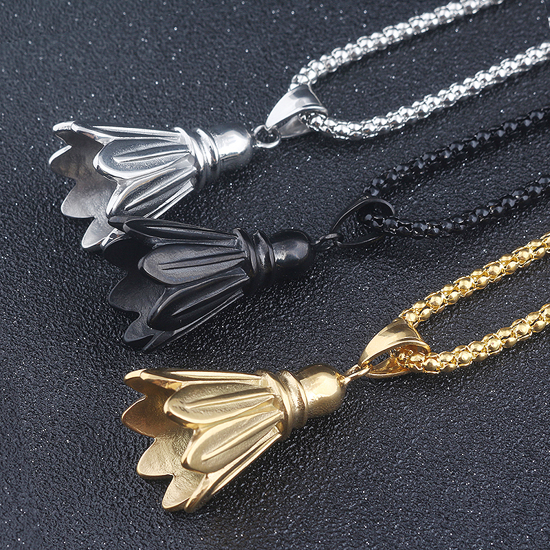 Fashion Jewelry women and men Badminton Pendant Long Necklace 3 colour Sports fitness cosplay accessories