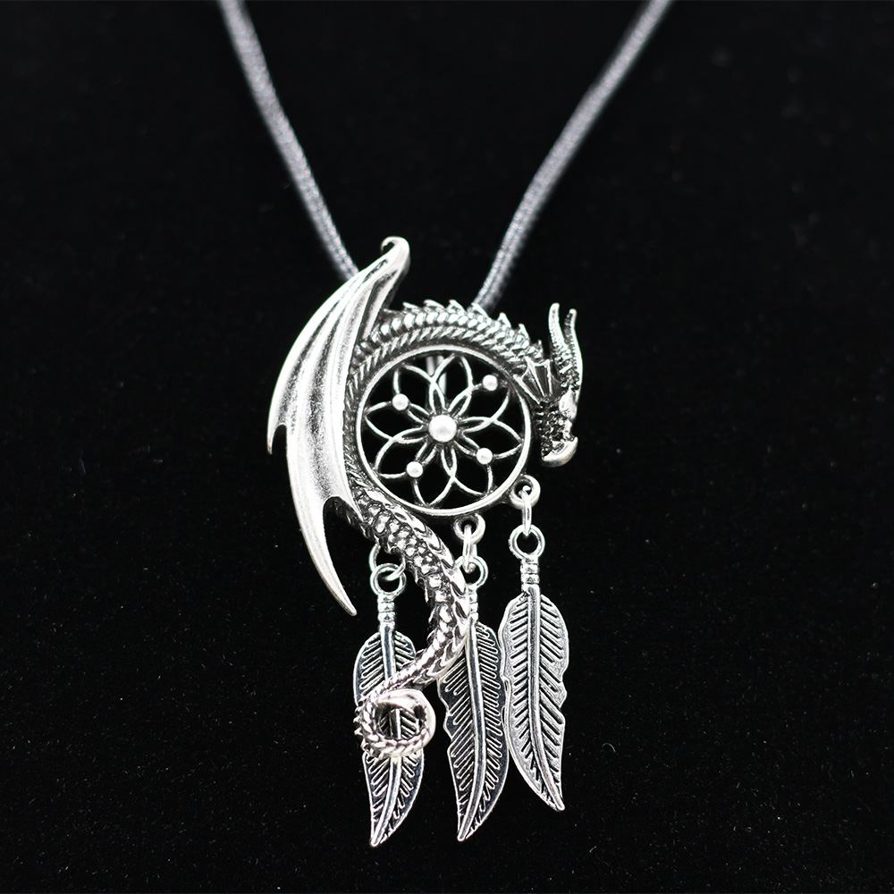 10pcs Dragon Guardian Dream Catcher Pendant Necklace Feather Tassel Boho Bohemian Women Necklace Choker Jewelry Viking